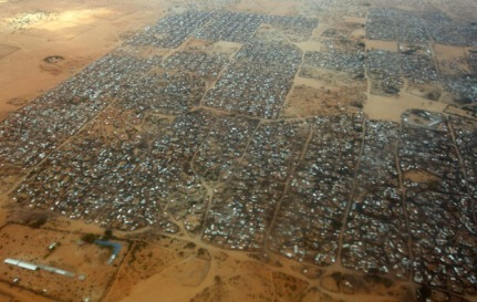 DADAAB, KENYA - JULY 19:  An aerial view of the Dagahaley refugee camp which makes up part of the giant Dadaab refugee settlement on July 19, 2011 in Dadaab, Kenya. The refugee camp at Dadaab, located close to the Kenyan border with Somalia, was originally designed in the early 1990s to accommodate 90,000 people but the UN estimates over 4 times as many reside there. The ongoing civil war in Somalia and the worst drought to affect the Horn of Africa in six decades has resulted in an estimated 12 million people whose lives are threatened.  (Photo by Oli Scarff/Getty Images)